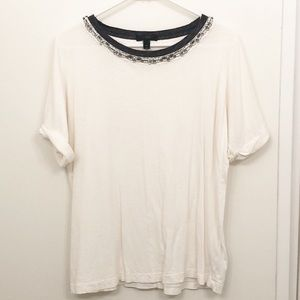 J. Crew jeweled neck rolled sleeve tee